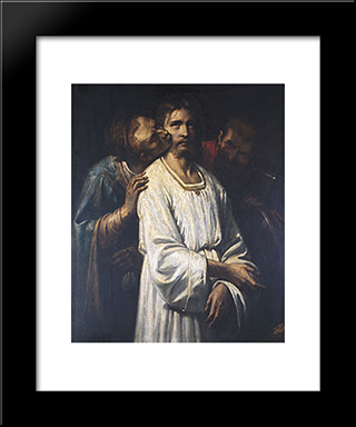 The Kiss Of Judas: Modern Custom Black Framed Art Print by Thomas Couture