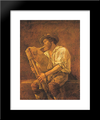 The Player Of Cormeuse: Modern Custom Black Framed Art Print by Thomas Couture