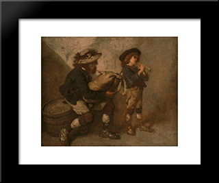Piper And His Son: Modern Custom Black Framed Art Print by Thomas Couture
