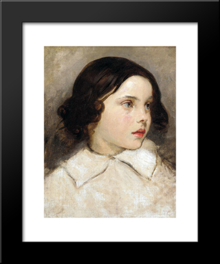 Study Of A Young Girl: Modern Custom Black Framed Art Print by Thomas Couture