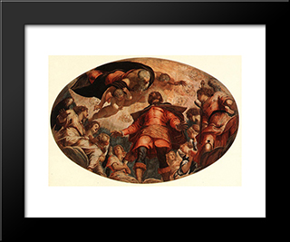 Glorification Of St Roch: Modern Custom Black Framed Art Print by Tintoretto
