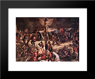 Crucifixion [Detail: 1]: Modern Custom Black Framed Art Print by Tintoretto