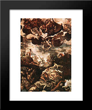Brazen Serpent: Modern Custom Black Framed Art Print by Tintoretto