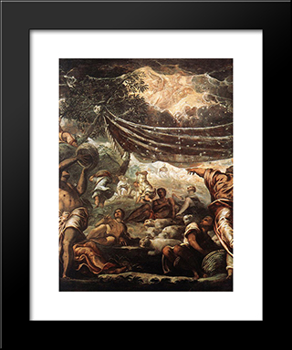 The Miracle Of Manna [Detail: 1]: Modern Custom Black Framed Art Print by Tintoretto