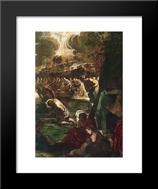 Baptism Of Christ [Detail: 1]: Modern Custom Black Framed Art Print by Tintoretto