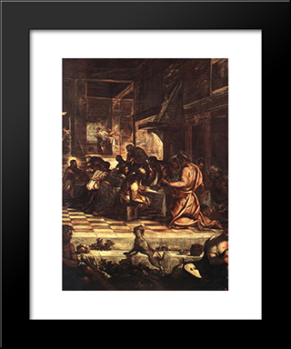 The Last Supper [Detail: 1]: Modern Custom Black Framed Art Print by Tintoretto