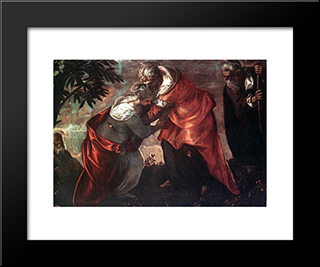 The Visitation: Modern Custom Black Framed Art Print by Tintoretto