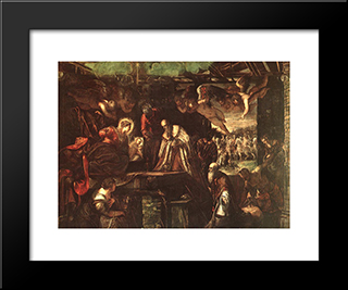 Adoration Of The Magi: Modern Custom Black Framed Art Print by Tintoretto