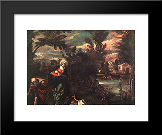 Flight Into Egypt: Modern Custom Black Framed Art Print by Tintoretto