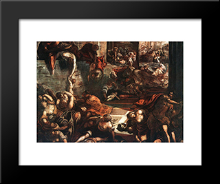 The Slaughter Of The Innocents: Modern Custom Black Framed Art Print by Tintoretto