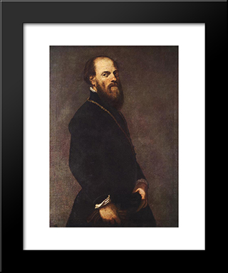 Man With A Golden Lace: Modern Custom Black Framed Art Print by Tintoretto