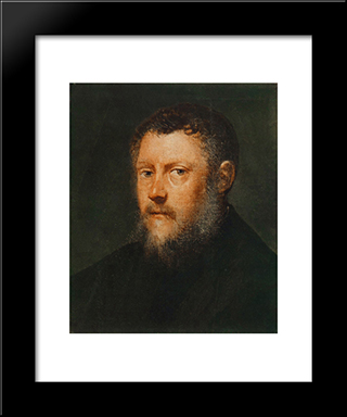 Portrait Of A Man (Fragment): Modern Custom Black Framed Art Print by Tintoretto