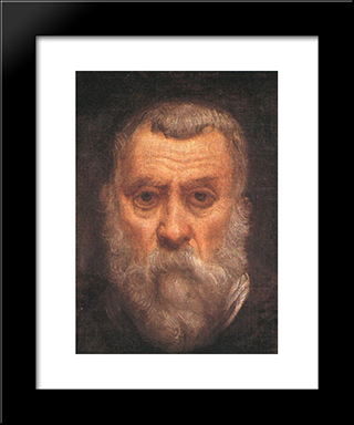 Self'Portrait [Detail: 1]: Modern Custom Black Framed Art Print by Tintoretto