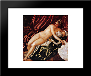 Leda And The Swan: Modern Custom Black Framed Art Print by Tintoretto