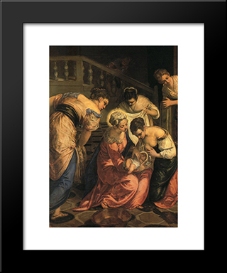 The Birth Of St. John The Baptist ' Detail: Modern Custom Black Framed Art Print by Tintoretto