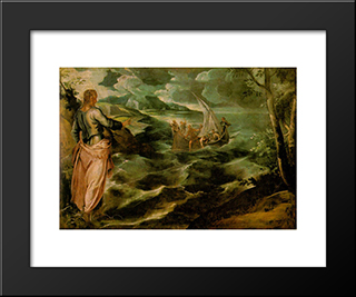 Christ At The Sea Of Galilee: Modern Custom Black Framed Art Print by Tintoretto