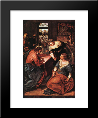 Christ In The House Of Martha And Mary: Modern Custom Black Framed Art Print by Tintoretto