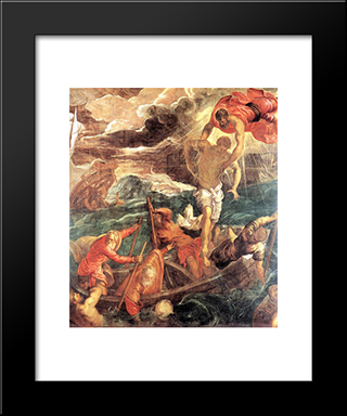 St. Mark Saving A Saracen From Shipwreck: Modern Custom Black Framed Art Print by Tintoretto