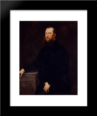 Portrait Of A Bearded Venetian Nobleman: Modern Custom Black Framed Art Print by Tintoretto