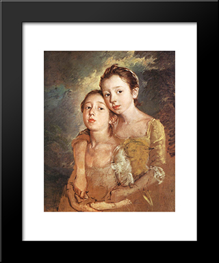 Artist'S Daughters With A Cat: Modern Custom Black Framed Art Print by Thomas Gainsborough