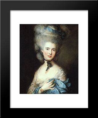 Portrait Of A Lady In Blue: Modern Custom Black Framed Art Print by Thomas Gainsborough