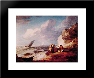 A Rocky Coastal Scene: Modern Custom Black Framed Art Print by Thomas Gainsborough