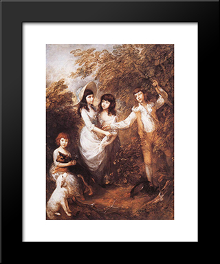 The Marsham Children: Modern Custom Black Framed Art Print by Thomas Gainsborough