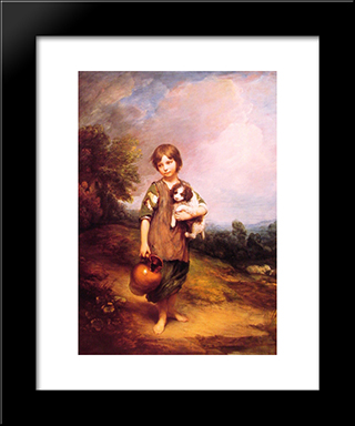 Cottage Girl With Dog And Pitcher: Modern Custom Black Framed Art Print by Thomas Gainsborough