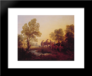 Evening Landscape ' Peasants And Mounted Figures: Modern Custom Black Framed Art Print by Thomas Gainsborough
