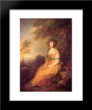 Mrs Sheridan: Modern Custom Black Framed Art Print by Thomas Gainsborough