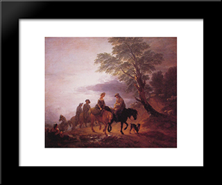 Open Landscape With Mounted Peasants: Modern Custom Black Framed Art Print by Thomas Gainsborough