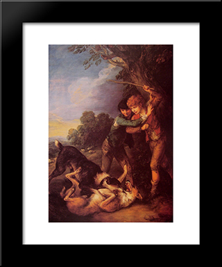 Shepherd Boys With Dogs Fighting: Modern Custom Black Framed Art Print by Thomas Gainsborough