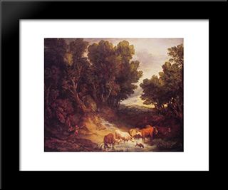 The Watering Place: Modern Custom Black Framed Art Print by Thomas Gainsborough