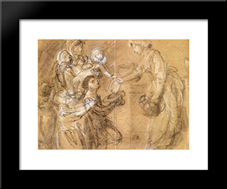 A Study For 'Charity Relieving Distress': Modern Custom Black Framed Art Print by Thomas Gainsborough