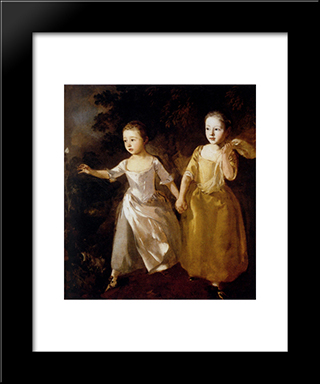 Painter'S Daughters: Modern Black Framed Art Print by Thomas Gainsborough
