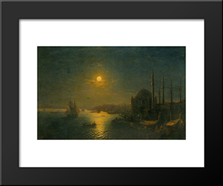 A Moonlit View Of The Bosphorus: Modern Black Framed Art Print by Ivan Aivazovsky