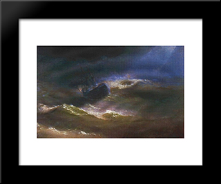 Maria In A Storm: Modern Black Framed Art Print by Ivan Aivazovsky
