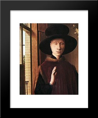 Portrait Of Giovanni Arnolfini And His Wife [Detail: 1]: Modern Black Framed Art Print by Jan van Eyck