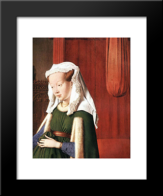 Portrait Of Giovanni Arnolfini And His Wife [Detail: 2]: Modern Black Framed Art Print by Jan van Eyck