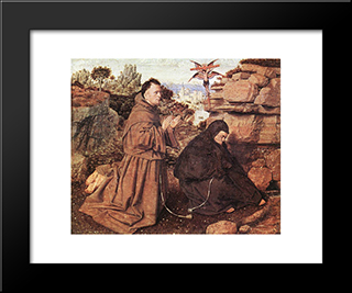 Stigmatization Of St Francis: Modern Black Framed Art Print by Jan van Eyck