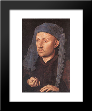 Portrait Of A Goldsmith (Man With Ring): Modern Black Framed Art Print by Jan van Eyck