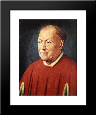 Portrait Of Cardinal Niccolo Albergati: Modern Black Framed Art Print by Jan van Eyck