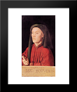 Portrait Of A Young Man (Tymotheos): Modern Black Framed Art Print by Jan van Eyck