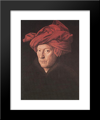 Man In A Turban: Modern Black Framed Art Print by Jan van Eyck