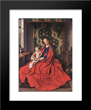Madonna With The Child Reading: Modern Black Framed Art Print by Jan van Eyck