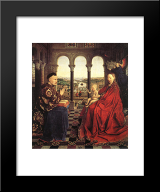 The Virgin Of Chancellor Rolin: Modern Black Framed Art Print by Jan van Eyck