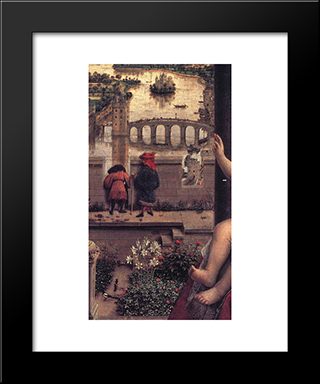 The Virgin Of Chancellor Rolin [Detail: 1]: Modern Black Framed Art Print by Jan van Eyck