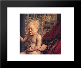The Virgin Of Chancellor Rolin [Detail: 2]: Modern Black Framed Art Print by Jan van Eyck
