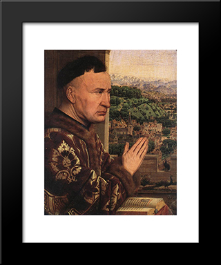The Virgin Of Chancellor Rolin [Detail: 3]: Modern Black Framed Art Print by Jan van Eyck
