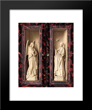 Small Triptych [Detail: Outer Panels]: Modern Black Framed Art Print by Jan van Eyck